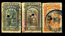 Quebec. Three LAW STAMPS. 1887-1897