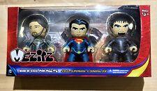 "MAN OF STEEL 2"" MINI ACTION FIGURES ZOD JOR-EL SUPERMAN 3 PACK FREE SHIPPING"