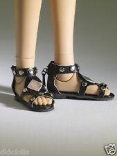 Tonner Nu Mood Black Sandals Flat 2 Doll Shoes, 2012, New