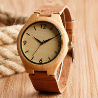 Hot Cool Nature Wooden Bamboo Genuine Leather Band Analog Men Women Wrist Watch
