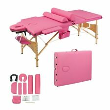 "27.6""W Portable Massage Spa Bed Table Adjustable Headrest 3section Folding Style"