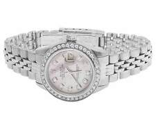 Ladies Stainless Steel 26MM Rolex Datejust Pink MOP Dial Diamond Watch 2.0 Ct