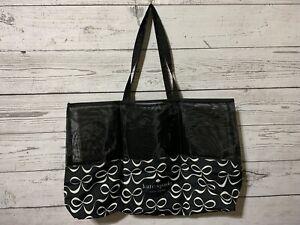 Kate Spade New York Black White Bow Print X-Large Shopping Foldable Tote Bag NWT