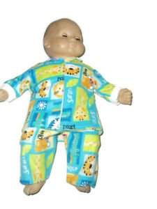 "Safari Pajamas PJs fits American girl bitty baby Dolls 16"" Doll Clothes Boy Girl"