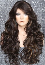 Long Beach Wavy Brown mix Full Wig Heat OK Hair Piece Layers Bangs 4-27 SOW