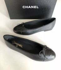 $795 CHANEL 2018 CLASSIC BLACK CAVIAR LEATHER BALLET FLATS 41