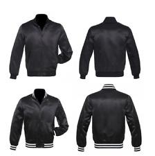 Black Satin Varsity Letterman Bomber Baseball  College Jackets Rib black & White