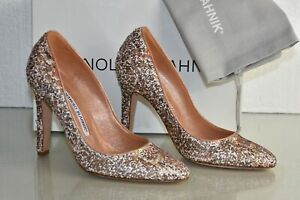 New MANOLO BLAHNIK Beige White Snake Sequinced TUCCIO SHOES 39