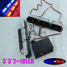Pair 18 LED Car Flashing Grill Strobe Light Red and Blue 3 Flashing Modes