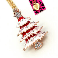 Betsey Johnson Enamel Crystal Christmas Tree Pendant Sweater Chain Necklace