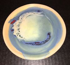 FRANCO RUFINELLI Plate ASSISI ITALY POTTERY WALL ITALIAN MODERNIST Blue