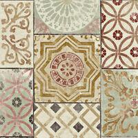 GW1011 Moroccan Tiles  Peel and Stick Wallpaper  Gold / Rust / Celadon