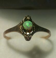 Antique Georgian c1840's 1/2 ct. opal and diamond 14kt. gold ring