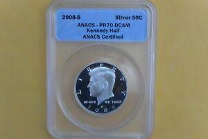 2008-S Silver Kennedy Half Dollar 50c ANACS PR70 DCAM