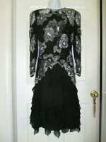 Vintage Sequined Beaded Black Cocktail Evening / Holiday Dress Size 8