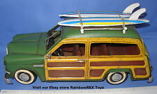 """1949 FORD WOODY WAGON with SURFBOARDS 12"""" Metal Antique Replica Hand Painted #2"""