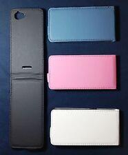 3 X Custodia COVER PER Sony Xperia L S36h C2105 A FLIP VERTICALE IN ECCO PELLE