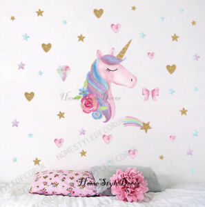 Magical Unicorn Horse Rainbow Hearts Wall Stickers Girls Room Decal