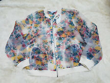 Boutique Plus Womens Floral See Through Bomber Baseball Jacket Sz 0X