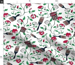 White Red Paint Rose Spring Alice Wonderland Spoonflower Fabric by the Yard