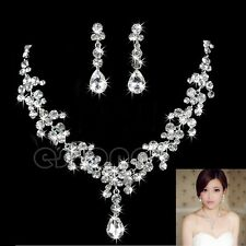 9K  White Gold Filled  Beautiful Luxury Crystal Set Necklace+Pendant+ Earrings
