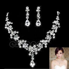 9K Blanco relleno de oro hermoso conjunto de cristal de lujo Collar + Colgante + pendientes
