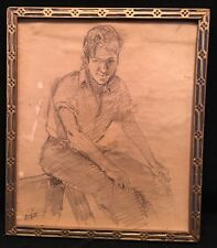 Walter Emerson Baum Original Pencil Sketch Art Identified Seated Man Frame c1931