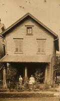 1914 Photo Grandma Gillinger & Lawrence Brown Pose On Porch Victorian Home RPPC