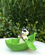 Miniature Dollhouse FAIRY GARDEN Figurine ~ Mini Raccoon Rowing a Leaf Boat NEW