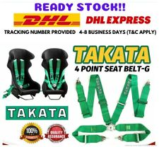 """Takata 4 Point Snap-On 3"""" With Camlock Racing Seat Belt Green Harness Universal"""