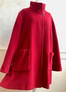 BASLER Red High Collar Designer Wool Angora Blend Formal Winter Swing Coat  L 18