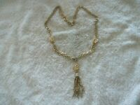 """Vintage """"Emmons"""" Pendant/Necklace, Gold Tone Metal, Chain Tassel, 2 Strand Chain"""