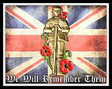 Ci ricorderemo loro REMEMBRANCE Poppy Union Jack placca di metallo tin sign R174