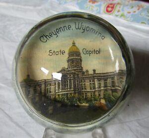 "3"" Round Glass Dome Paperweight ""CHEYENNE WYOMING State Capitol"" (c. 1940s)"