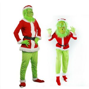Men Grinch Santa Claus Costume For Adult Kids Grinch Cosplay Suit For Christmas