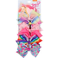 "6pcs/Card 5.5"" Unicorn Horn Printed Ribbon Hair Bow Girls Kids Party Hairgrips"