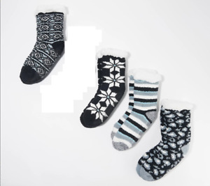 Cuddl Duds Faux Sherpa Cozy Lined Socks Set of 4-Black-One Size A386533 NEW