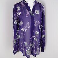 Wallis Purple Floral Blouse Size S 8 10 Small Flower Butterfly Print Sheer Beach