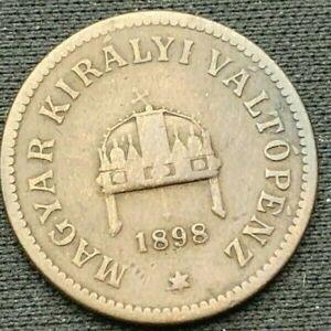 Hungary 1898    2 Filler XF    Bronze Coin    #K642