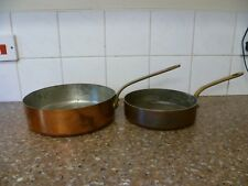 VINTAGE PAIR OF FRENCH, HEAVYWEIGHT, SHALLOW COPPER SAUCEPANS. COPPER COOKWARE