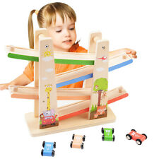 4 Layers Ramp Racer Click Clack Car Race Track Wooden Toy For Kids Child Gift #B