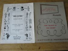2 1950's Programmes Coventry Savoy Opera Society, Yeoman of the Guard & Iolanthe