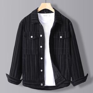 Corduroy Jacket Casual Long Sleeve Vertical Stripe Jacket Shirt