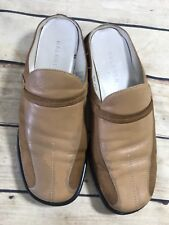 d700c704279 Halogen Mule Clogs Womens Size 7.5W WIDE Brown Leather Slip On Moc Loafers