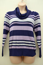New M&S Collection Purple & Grey Stripe Cowl Polo Neck Jumper Sz UK 24