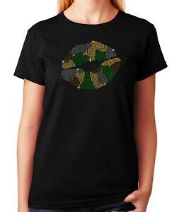 """Women's / Unisex Rhinestone T-shirt """" Camo Lips """""""