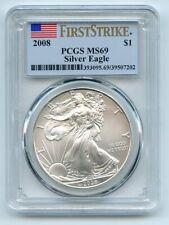 2008 $1 American Silver Eagle Dollar 1oz PCGS MS69 First Strike