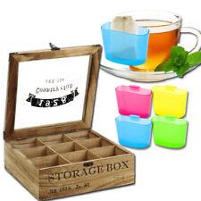 Teebox 9 Fächer Holz inkl. Teebeutelhalter Teebeutelbox Teekiste Teebeutel NEU