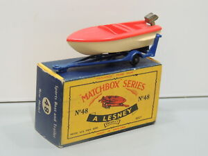 MATCHBOX No 48B SPORTS BOAT & TRAILER NM IN C TYPE LESNEY BOX