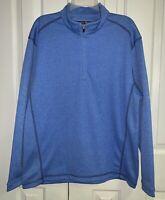 Pebble Beach Performance Men's 1/4 Zip Blue Pullover Golf Top Long Sleeve Size M
